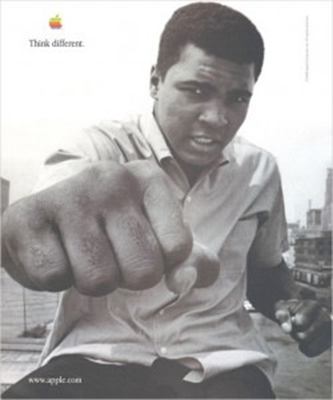 "Một print-ad của chiến dịch ""Think Different"" với Mohamed Ali"