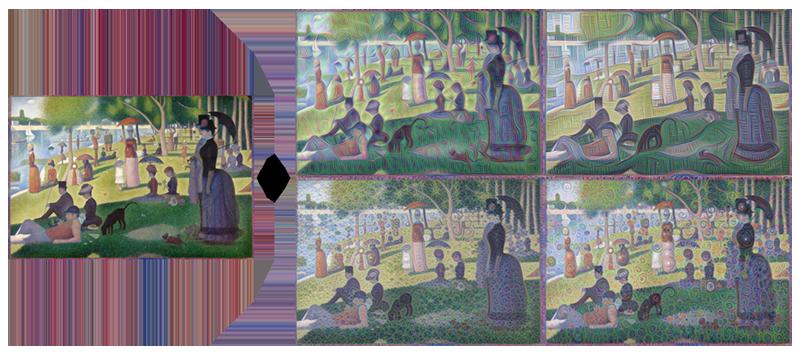 Bên trái là bức tranh của họa sĩ Georges Seurat và bên phải là những hình ảnh do AI xử lý ra