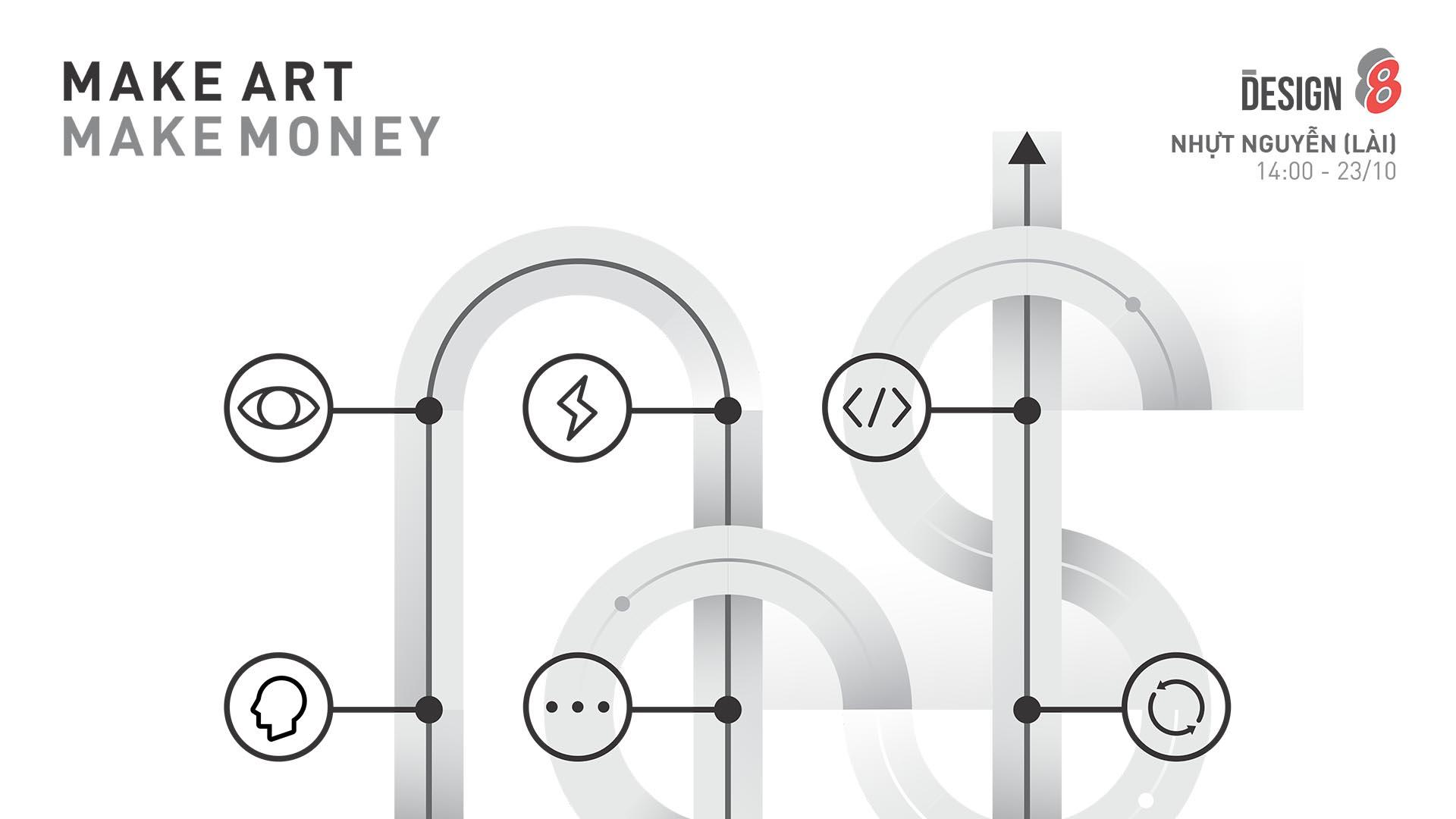 <h1>DESIGN8 #07</h1><p>Đã bao giờ bạn tự hỏi làm nghệ thuật có nên nghĩ tới thương mại, làm sao dung hòa các yếu tố để có thể MAKE ART MAKE MONEY? </p>