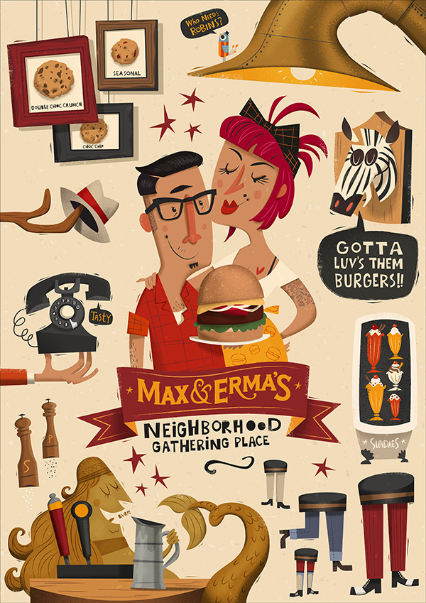 RGB.vn_Max & Erma's Illustrated Menu Cover - Peter Donnelly