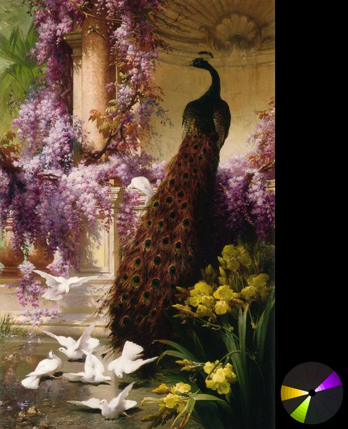 Eugene Bidau – Chim công và bồ câu trong khu vườn