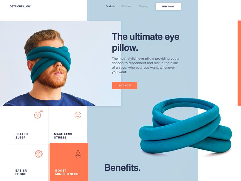 Thiết kế trang về gối cho đôi mắt đầy sáng tạo của Sasha Turischev – Nguồn: dribble.com