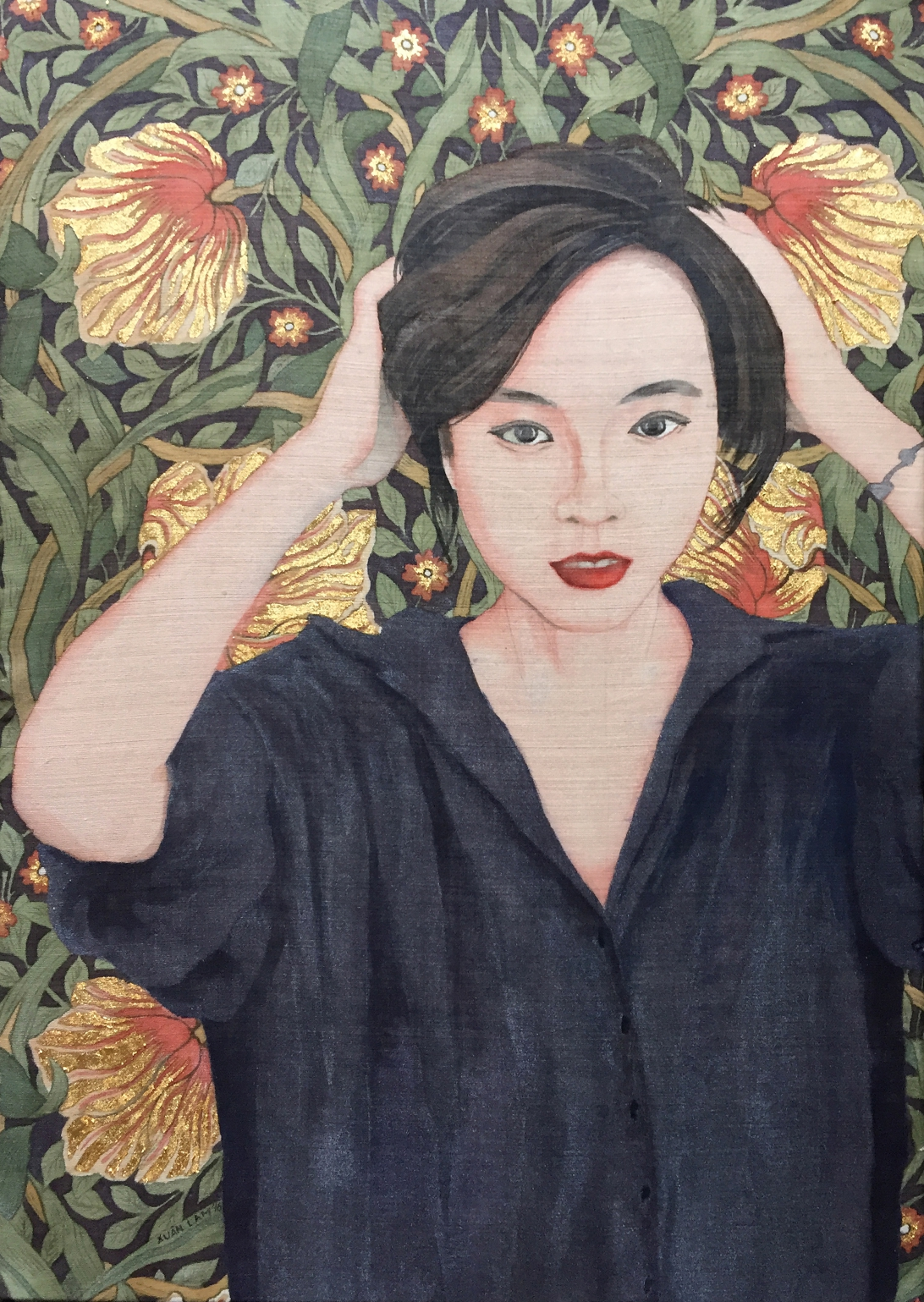 resize_Portrait of Kim Anh - Gold Leaf and Watercolor on Silk - 50 x 70cm